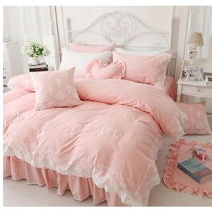 Wholesale-Korean Princess style cotton bedding no filling duvet cover set 3 4pcs twin full queen king size lace bed skirt free shipping