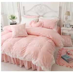Al por mayor-Corea estilo de la princesa ropa de cama de algodón sin relleno funda nórdica conjunto 3 / 4pcs doble completo de la reina tamaño king cama de encaje falda envío gratis