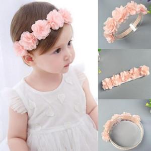 La niña de la venda de nuevo llega la gasa de la flor flor de la corona de la venda principal de la guirnalda de Headwear blanco rosado de los accesorios del pelo del cordón del niño encantador
