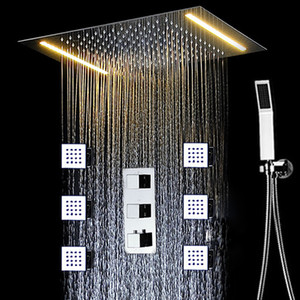 Conealed Decke Big Regen Badduschehahn Set Elektro-LED Massage Showerhead Thermostat-Mischventil / Handbrause