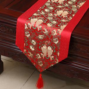 Lucky Flower Short Long Chinese Silk Mesita de café Runner Decoración del hogar Christmas Table Mat Small Satén Jacquard TableCloth Party 150x33 cm