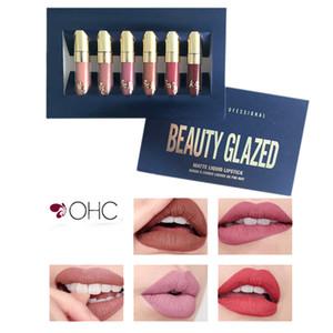 Wholesale-6 Pcs/Set Lipgloss Waterproof Matte Liquid Lipstick Long Lasting Lip Gloss Birthday Edition Beauty Glazed  Kit