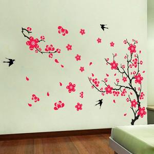 Adesivi Rimovibili Wall Sticker Decalcomanie Murali Home Decor Art FAI DA TE Plum Flower Swallows Pattern Nuovo arrivo