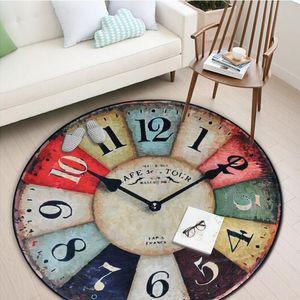 Vintage Creativo Reloj de Pared Impreso Ronda Alfombra Entrada DoorMat Porche Alfombra de baño Antideslizante Resistente al desgaste Alfombra de cocina