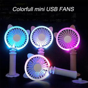 Colorful mini USB FANS Protable Handheld Fan Mini USB Rechargeable Fan Quiet Desktop Personal Cooling Fan DHL free shipping