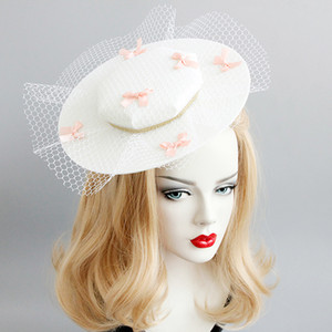 2019 Hotsale FEISEuropean-style vintage net gauze bowknot dance party exaggerated show hat host live match accessories