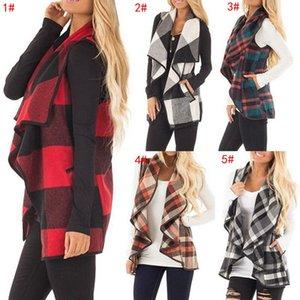 Femmes revers plaid cardigan designer de poche gilet manteau irrégulier veste sans manches ouvert devant Blouse Outwear gilet manteaux femmes manteaux 5 couleurs