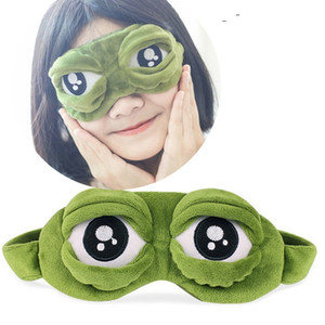 40pcs Moda Kawaii Viaje Sleep Eye Mask 3D Sad Frog Acolchado Sombra Cubierta Dormir Closed / Open Eye Funny Mask