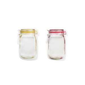 Einmachglas-Muster-Nahrungsmittelretter-Speicher-Beutel-wiederverwendbarer Imbiss-Beutelsatz 500ml / 150ml, luftdicht, Reißverschluss, Portable, Großverkauf