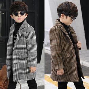 Petits garçons à carreaux simple boutonnage mode manteau de laine costume dans les longues casual section manteau enfants garçon manteau de laine nouvel hiver