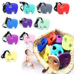Silikon Elefant Beißring Kinderkrankheiten Spielzeug Sicher Silikon Anhänger Halskette Kauen Perlen Baby Beißring Schnuller Kette Anhänger Sinnliches Kaubares Spielzeug