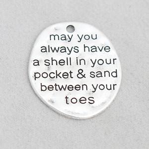합금 메시지 매력은 항상 당신의 발가락 사이에 주머니 모래에 쉘을 가질 수 있습니다 Dog Tag Charms 50pcs / lot AAC1271