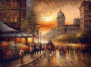 Paris Street Scenery sunset cityscape Высокое Качество Ручная роспись Импрессионизм пейзаж Искусство Живопись Маслом На Холсте Multi размеры l112