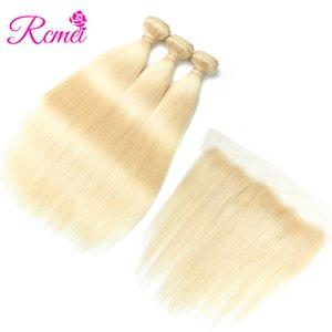 Rcmei перуанские прямые пучки человеческих волос с кружевом фронтальная 613 блондинка 3 пучка хороший Quanlity Huamn волос 4 шт. / лот Бесплатная доставка