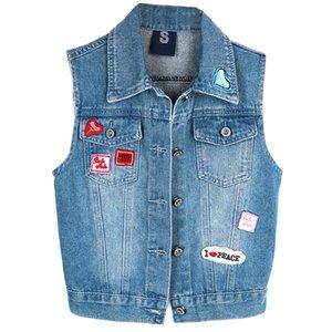 Mulheres Denim Vest 2018 New Verão Estilo Lady Cardigan Azul Denim Jean Coletes revestimentos superiores Jeans Tops alta qualidade mulheres Coletes Jaquetas