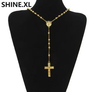 Hip Hop Iced Out Lange Rosenkranz Halsketten Perlenkette Kreuz Anhänger Gold Farbe Katholische Kirche Ball Schmuck