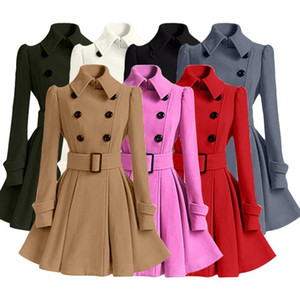 Mujeres Trench Coat Nuevo Long Woolen Coat Dress Moda Slim Breasted solapel Lujo Largo Invierno Warm Wool Jacket Outerwear
