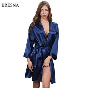 BRESNA Einfachen Stil Lose Roben Faux Silk Nachtwäsche Mit Gürtel Frauen Bademantel Hause Einfarbig Nachthemden Cardigan Negligees S1015