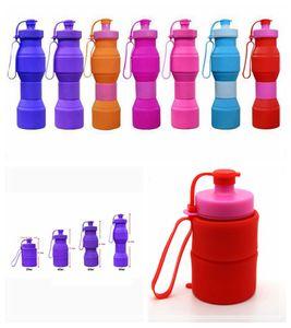 800 ml Viaje Creativo Al Aire Libre Ecológico Plegable de Silicona Botella de Agua Deporte de Silicona Retráctil Ciclismo Kettle Cup 7 Colores DDA406
