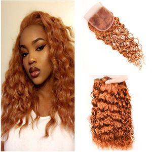 Коричневый Белый 3 Связки с Closure Бразильская волна воды Curly человеческих волос Remy Weave # 30 Auburn 4 * 4 шнурка CLOSURES 4шт много