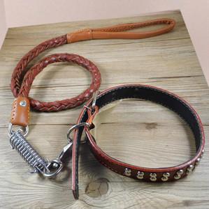 Correa de cuero para perros Collar de plomo para perros de tamaño mediano grande - Productos para perros Accesorios Correa de plomo de cuero resistente y duradera para mascotas