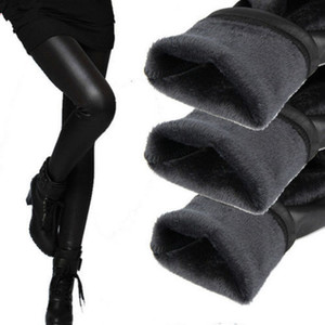 Fashion Women Winter Warm Pants Female Leather Trousers Thick Velvet Stretch Elastic Pencil Skinny pants Women's Tight pant W2