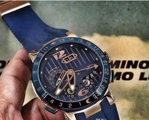 Роскошные мужские механические часы автоматический ООН El Toro Вечный календарь GMT многофункциональный синий циферблат резиновые Моды мужские бизнес наручные часы