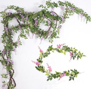 2m di seta glicine fiori d'India glicine artificiali con foglie verdi appesi fiori finti decorazione matrimonio giardino