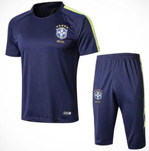 2018 2019 brasil survetement futebol treino 18/19 copa do mundo brasileiros Maillot de pé mangas curtas 3/4 calças camisa de futebol uniforme