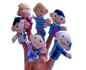 Free Shipping 6Pcs Set Family Finger Puppets Cloth Doll Baby Educational Hand Toy Kid