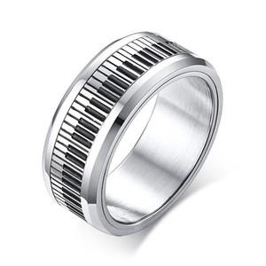 Dönebilen Piyano Anahtarlık Erkekler için Paslanmaz Çelik Band Şık Spinner Band Müzik Lover Müzisyen Hediye Takı