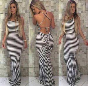 Listras preto e branco elástico condole apertado sexy backless dress mulheres verão celeb boho longo maxi dress m210