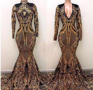 Вечерние платья с высокой горловиной Yousef Aljasmi Черно-золотое платье с скользящим шлейфом Роскошное вечернее платье с русалкой Вечернее платье с длинными рукавами