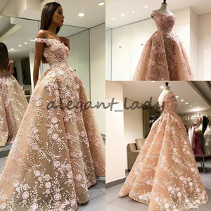 MOE SHOUR Overskirt 2018의 리얼 이미지 댄스 파티 복장 Outside Shoulder Dubai Arabic Puffy Skirt Evening Wear Dress