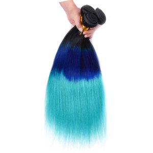Three Tone #1B Blue Teal Ombre Peruvian Human Hair Extensions Double Wefts Dark Root Blue Teal Ombre Virgin Hair Weaves 3 Bundle Deals