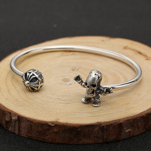 Personalized 925 sterling silver jewelry hand-made designer cross Skull Skeleton vintage style bracelet bangles adjustable for women
