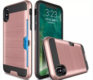 Custodia per armatura spazzolata con custodia per PC Dual Layer 2 in 1 Hybrid con tasca per schede per iPhone X 8 Plus 7 6 6S Plus