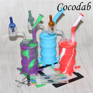 Silicone Barrel Rigs Mini fumo Rigs Dab Jar Bongs Silicon Oil Drum Rigs quarzo termico chiodo tappetino in silicone dab tool glass ball cap