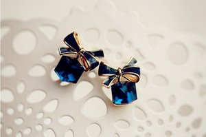 Moda de alta Qualidade 2018 Chic Shimmer arco nó Cubic Verde Azul Brincos De Cristal Rhinestone Stud Brincos Para Mulheres pendientes