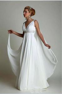 2019 Sencillo Talla grande Vestido de noiva Vestidos de novia griegos Gasa Grecian Beach Vestidos de boda de maternidad Vestido nupcial del imperio