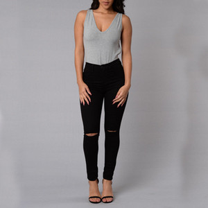 Nova Moda Das Mulheres Destruído Rasgado Calças Jeans Fino Namorado Calça Jeans Calças Jeans Longas À Moda Skinny Buraco