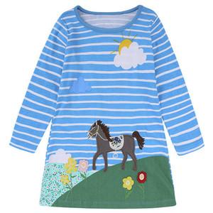 Robes De Filles Bébé Filles Vêtements En Jersey De Jersey Robe Animal Appliques Enfants Robes D'enfants pour Filles Costumes Robe Des Enfants