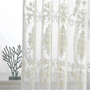 Damasco victoriana bordado blanco cortinas transparentes Ainest personalizado país francés pellizco panel plisado 140 * 214 casa suministros venta caliente