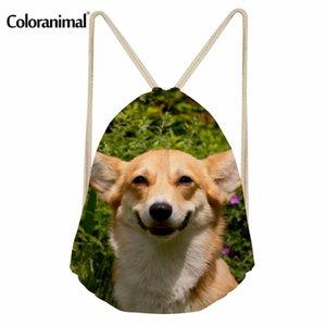 Coloranimal 귀여운 애완 동물 개 여성 남성 작은 배낭 졸라 매는 끈 부대 3D 웨일스 패턴 청소년 소녀 보이 책가방 비치 Bagpack