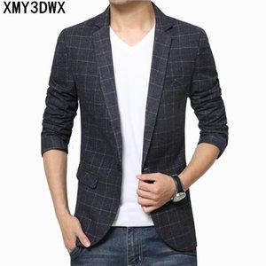 Мужчины Slim Fit плед пиджак пиджак бренд свободного покроя деловой костюм пиджак мужской плюс размер 3XL хлопок свадебный костюм Masculino
