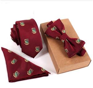 3 PCS hommes CRAVATE Set Bowtie Slim Cravate de haute qualité Slim Skinny Tie Dress hommes Affinez Mouchoir de poche carrée Costume Set