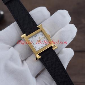 Nouvelle Montre Women Regardez la carrée En acier doré Black Cuir Bracelet Cadran blanc Deux mains Mouvement de quartz Mouvement Dames Montre-Bracelet 26mm