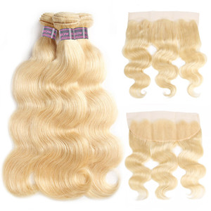 Ishow Hair Brasilianische Haarkörperwelle Menschenhaar Bundles Extensions 3pcs mit Lace Frontal Closure 613 Blonde Bundles mit Frontal