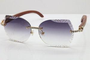 Lunettes de soleil Lunettes de soleil sculptées Bois sculpté Lentilles Sunglasses Sunglasses Hot Vintage Big Stones Garnming Lentille Gratuit Verres Unisex Rimless 8200762A NE HSIG