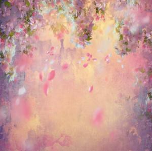5x7ft 비닐 페인팅 플로랄 플라워 핑크 드롭 꽃잎 신생아 배경 웨딩 배경 사진 스튜디오 배경